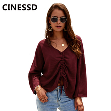 CINESSD V Neck Long Sleeves Knitted Sweater Burgundy Lace Up Women Casual Tops Pullover Knitwear Solid Autumn Winter Sweaters long sleeves striped pullover knitwear