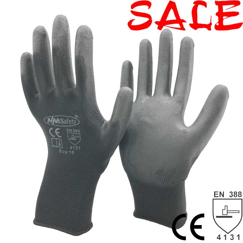 12 Pairs Safety PU Dipping Palm Work Gloves