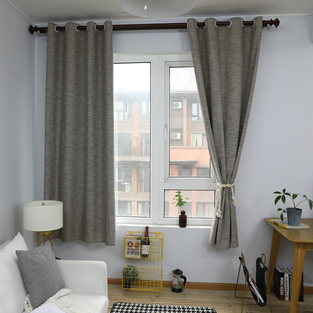 Modern Linen Simple Semi-blackout Curtain Finished Sunshade Curtain Bay Window Bedroom French Window Bedroom Living Room 55*85