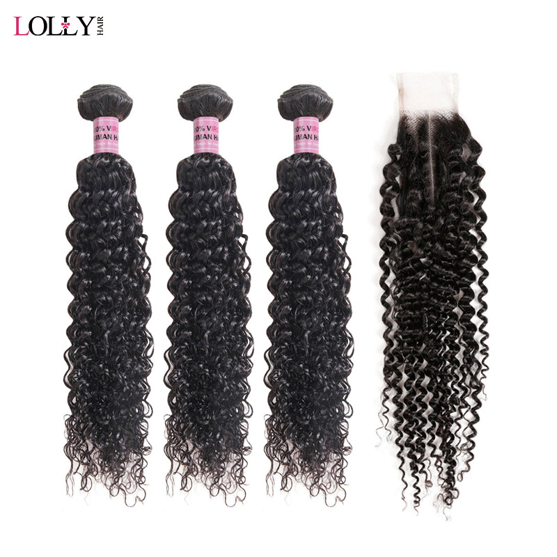 Lolly Mongolian Kinky Curly Hair Bundles With Closure 2/3 Human Hair Bundles With Lace Closure 2x4 Middle Part  Hair Weave