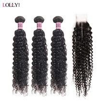 Lolly Mongolian Kinky Curly Hair Bundles With Closure 2/3 Human Hair Bundles With Lace Closure 2x4 Middle Part Hair Weave(China)