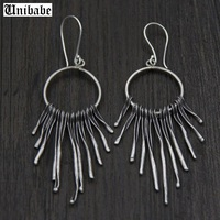 925 Sterling Silver Ethnic S925 Earrings Ethnic Dangle Drop Twisted Tassels Retro Style