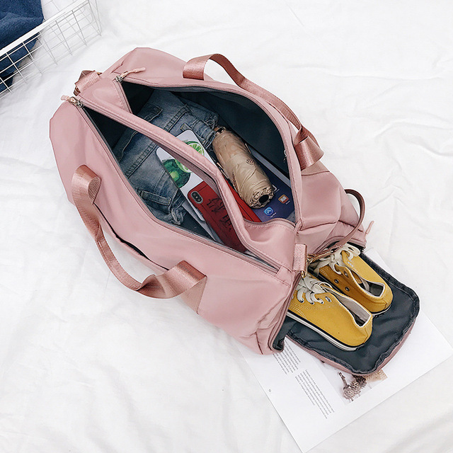 Outdoor Waterproof Nylon Sports Gym Bags Men Women Training Fitness Travel Handbag Yoga Mat Sport Bag with shoes Compartment 4