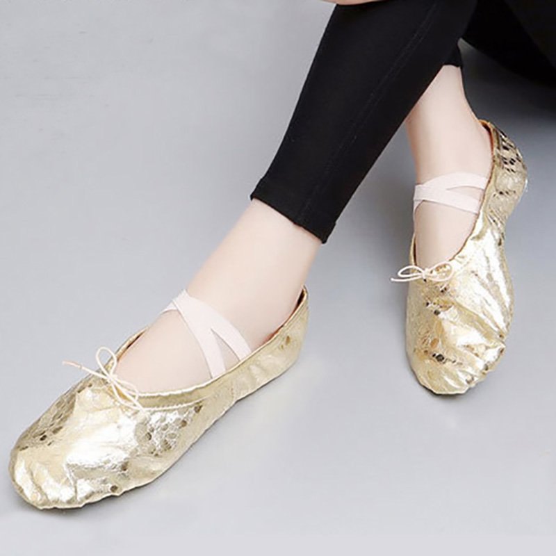 USHINE EU24-43 Gold Silver Professional PU Fabric Flat Practice Teacher Yoga Ballet Dance Shoes For Girls Woman