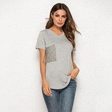 2020 verão de alta qualidade feminina algodão elástico básico t-shirts soild rendas bolso com decote em v feminino casual tops manga curta