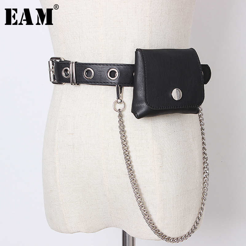 [EAM]  Pu Leather Mini-bag Chain Split Joint Long Belt Personality Women New Fashion Tide All-match Autumn Winter 2019 1B793