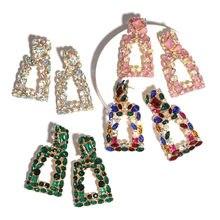 Большие серьги Ztech с кристаллами для женщин, круглые геометрические серьги-подвески, разноцветные крупные серьги Стразы, украшения для вече...