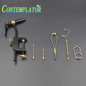 1set Rotary Portable Classic Fly Tying Vise Bobbin Holder Threader Whip Finisher Bodkin Hackle Plier Brass Fly Tying Tools
