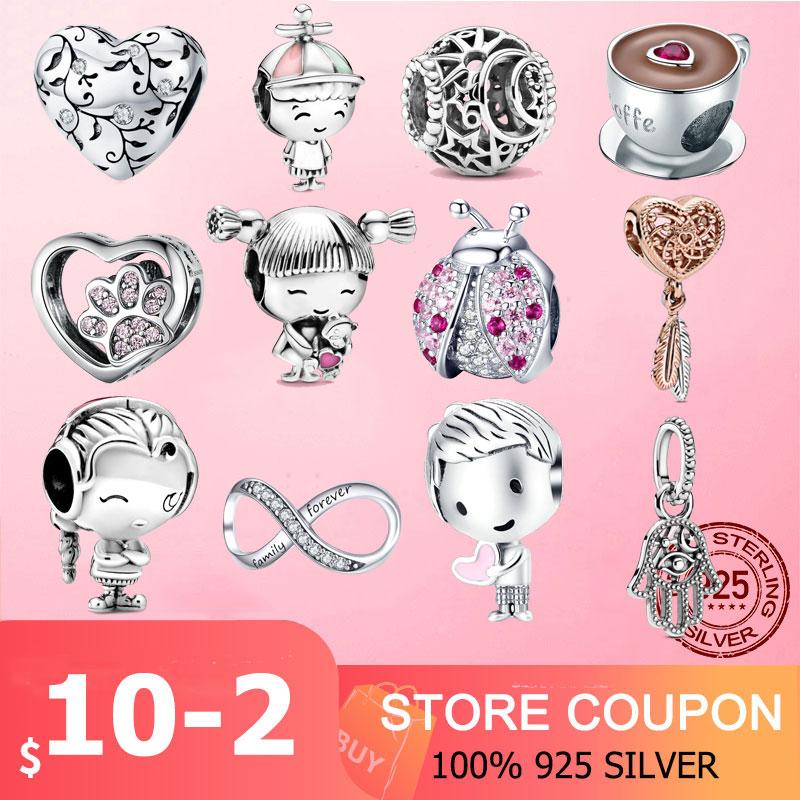 Charme de prata 925 prata esterlina joaninha infinito pegada contas rosa claro cz encantos caber pan original pulseira jóias