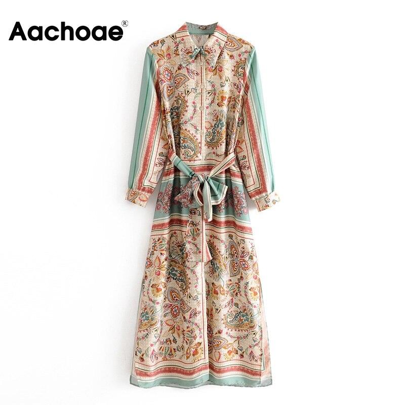 Vintage Print Shirt Dress Lady Turn Down Collar Women Elegant Dress Long Sleeve Bandage Fashion Long Maxi Dress Female Vestido