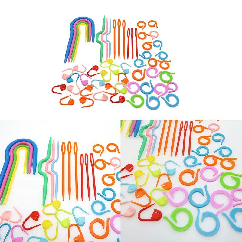 53Pcs Plastic Crochet Hooks Stitch Markers Counter Knitting Needles Tools Set