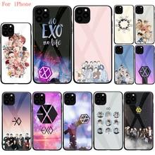 Чехол из закаленного стекла для iphone SE 2020 11 Pro 6 6S Plus 7 8 Plus X XS XR XS Max Apple iphones EXO band k-pop kpop