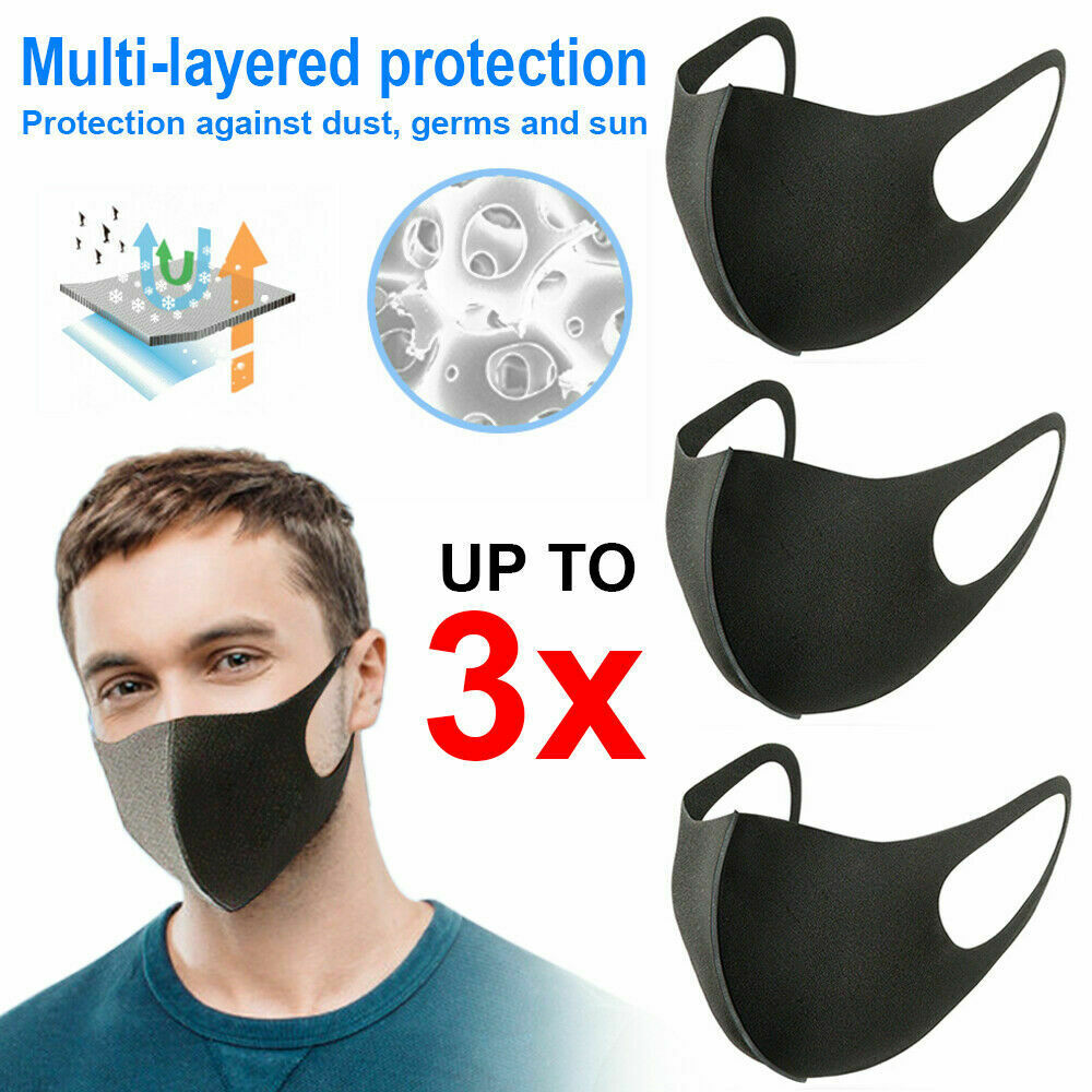 Vehemo 3pcs Black Mouth Mask Cool Anti Dust Motorcycle Bicycle Cycling Ski Atv Half Face Masks Filter Black Durable Neoprene