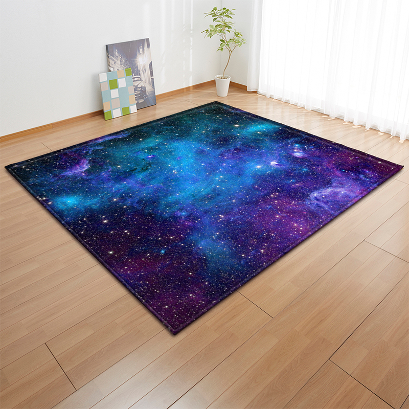 Modern Livingroom Anti-slip Area Rug Flannel Floor Carpets Baby Play Crawling 3D Universe Galaxy Planet Mat Rugs Carpet