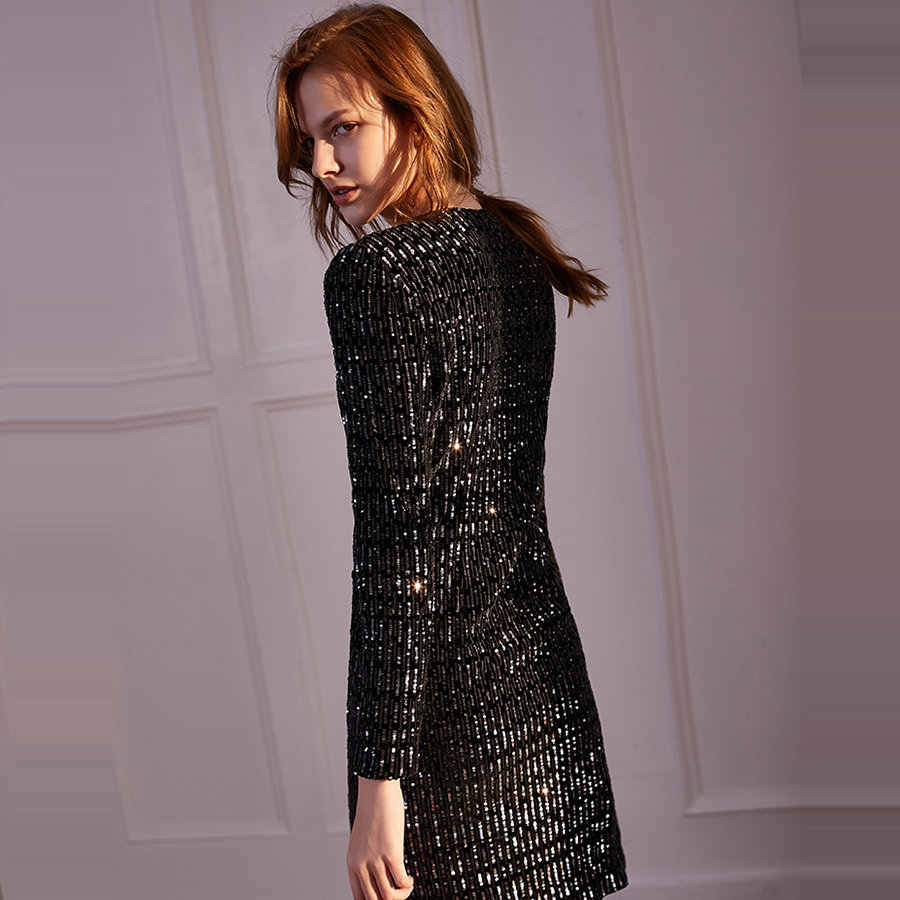ארוך שרוולים נשף שמלה סקסי צווארון V נשים המפלגה שמלות K038 חדש בתוספת גודל Vestidos דה גאלה 2019 שחור קצר פאייטים נשף שמלות
