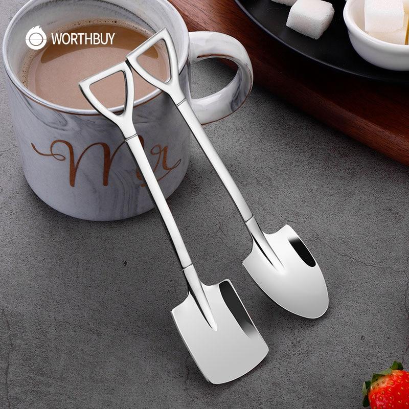 WORTHBUY Lindo pala café bolas de acero inoxidable 18/8 de café cuchara de té de hielo de crema de postre cucharillas accesorios de cocina