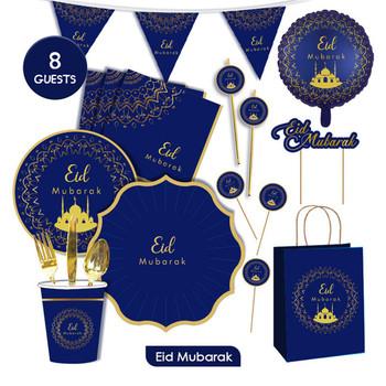Ramadan Kareem dekoracje Eid Mubarak Banner balony jednorazowe zastawy stołowe zestaw Ramadan Mubarak muzułmański islamski dekoracje świąteczne tanie i dobre opinie CN (pochodzenie) Tektura Id al-Fitr blue gold 9inch 7inch
