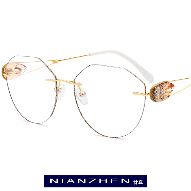 Wire Titanium Eyeglasses Frame Women Luxury Diamond Trimming Cut Female Frameless Rimless Optical Glasses Women Eyewear 1192