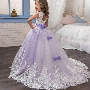Image 2 - אלגנטי פרח ילדה שמלות 2020 סגול אפליקציות שרוולים ילדים נסיכת לחתונות ראשית הקודש שמלות תחרות שמלות