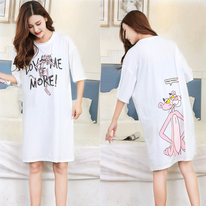 Short Sleeve Nightgown Women's Summer Nightgown White Double-Sided Leopard 2019 New Style Korean-style Fresh Students Loose-Fit