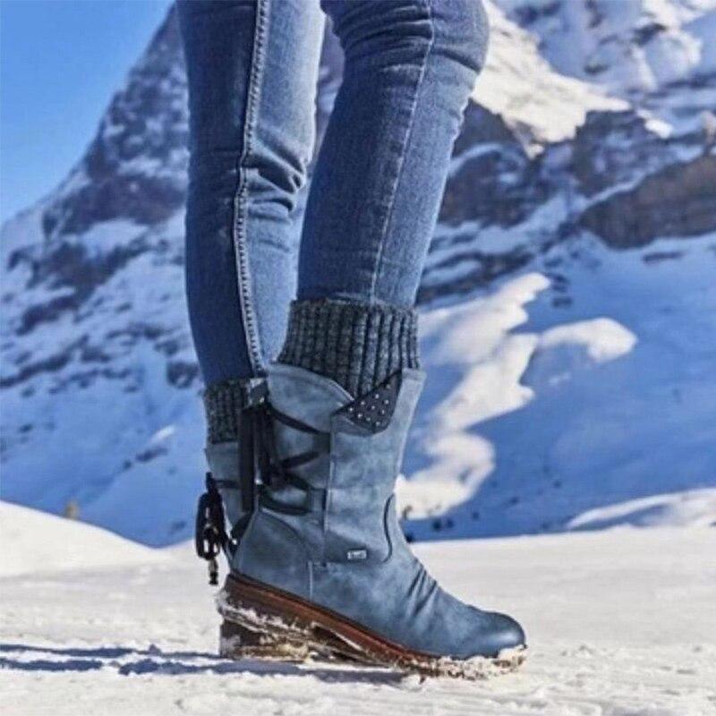 MCCKLE 2020 נשים חורף אמצע עגל מגפי פלוק חורף נעלי גבירותיי אופנה שלג מגפי נעלי ירך גבוהה זמש חם botas אישה
