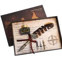 Винтаж каллиграфии гусиное перо dip набор чернил перьев комплект