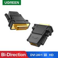 Ugreen-adaptador DVI a HDMI, convertidor hembra compatible con proyector HDTV, DVI-D bidireccional 24 + 1 macho a HDMI