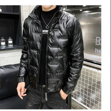 2021 winter new shiny cotton coat men's trendy brand stand-up collar thick warm down short coat