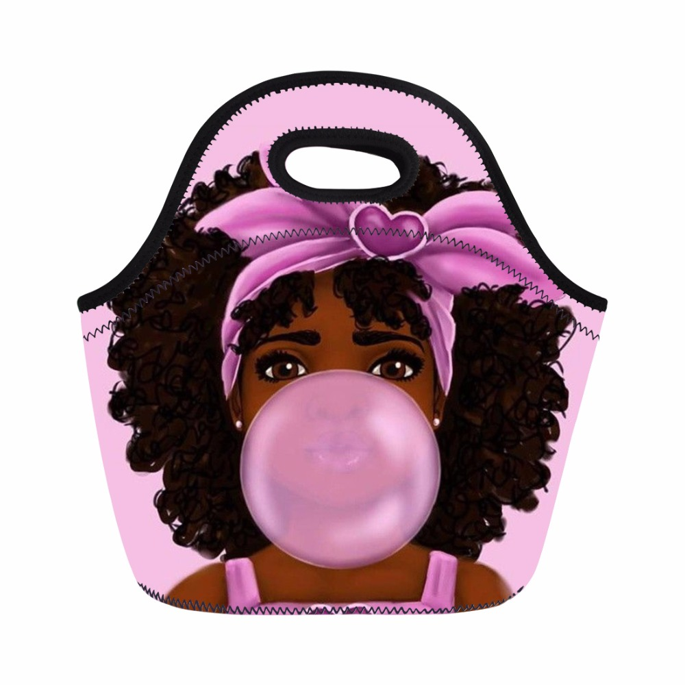 Negra Africano Meninas Mulheres Lunchbag Picnic Lunch