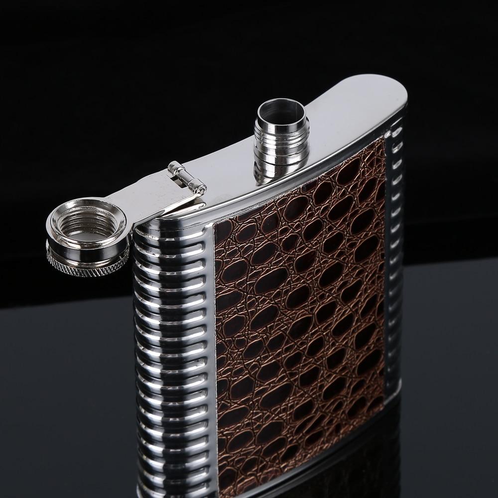 H42c6540c6234459081ca7e3ac287767de Hip Flask 5 6 7 8 9 10oz Stainless Steel PU Pocket Drink Holder Whisky Liquor Vodka