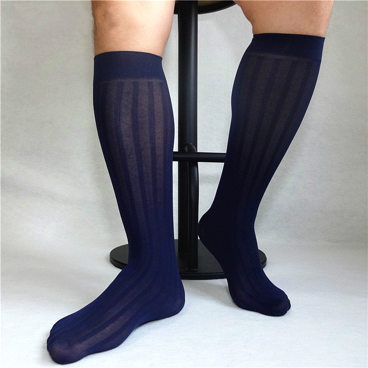 Tube Socks Men's Stocking Business Dress Stockings Sheer Socks Exotic Formal Wear Suit Men Sexy Transparent TNT Strip Socks