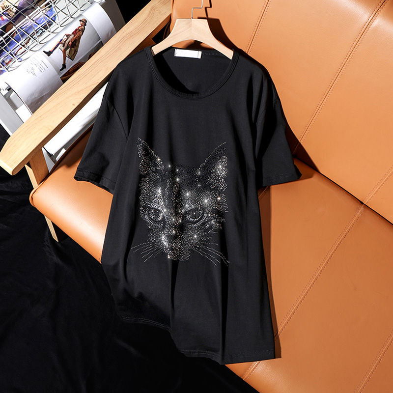 Summer 2021 new fashion loose plus size short-sleeve T-shirt for women casual personality cat pattern hot diamonds female tops