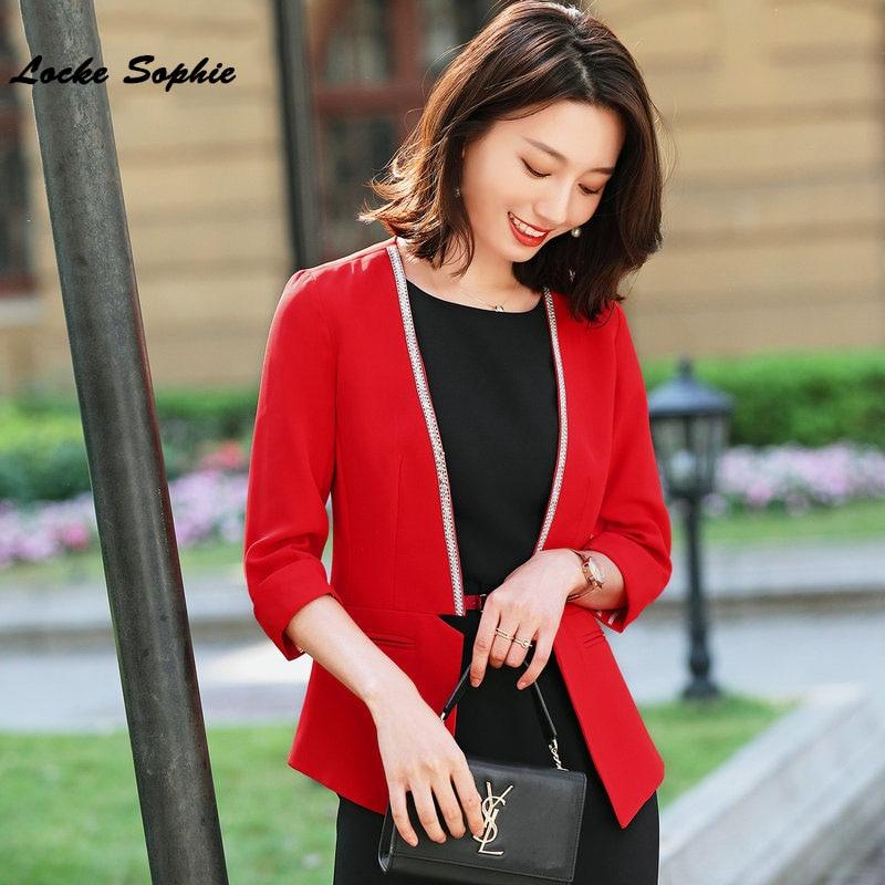 Women's Plus Size Blazers Coats 2020 Spring Cotton Blend Half Sleeve Irregular Small Suits Jackets Ladies Skinny Blazers Suits