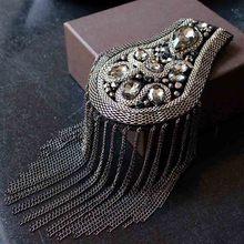 Handmade Fashion drill Tassel Chain Shoulder Board Badges Beads Fabric Metal Metal Cchain Epaulette