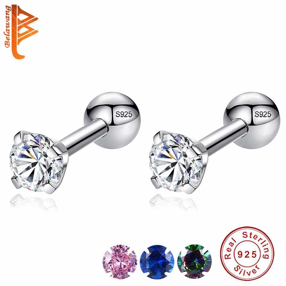 Luxury 925 Sterling Silver Small Round CZ Zircon Screw Back Stud Earrings For Women Wedding Engagement Piercing Jewelry