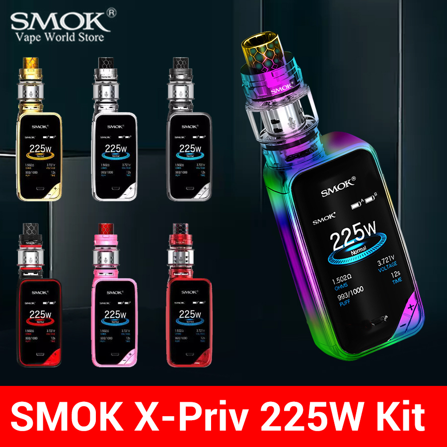 Electronic Cigarette SMOK X-PRIV Kit Box Mod 225W Cigarette Electronique TFV12 Prince Tank Vaporizer Vape E Hookah Pen S168