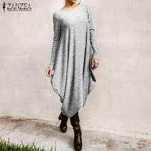 Асимметричное женское платье Весна Открытое без рукавов zanzea