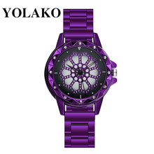 Women Magnet Buckle Gradient Starry Sky Diamond Watch Luxury Ladies Stainless Steel Mesh Belt Quartz Watches YOLAKO Gift Clock(China)