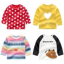 От 6 месяцев до 5 лет футболка с длинными рукавами для малышей, унисекс хлопковая одежда для мальчиков футболки детские футболки, топы с длинными рукавами, футболка одежда для первого дня рождения