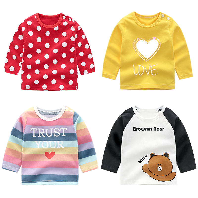 Unisex 6M-5T Baby Long Sleeve T-shirt Cotton Boys Clothes T Shirts Kids Top Tees Long Sleeve Tops Tshirt First Birthday Clothes
