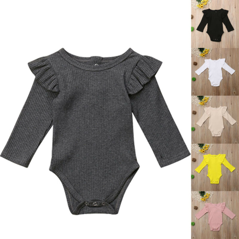 Clearance SalePudcoco Bodysuit Outfit-Sets Newborn-Body Baby-Boys-Girls Solid-Color Winter Ruffles