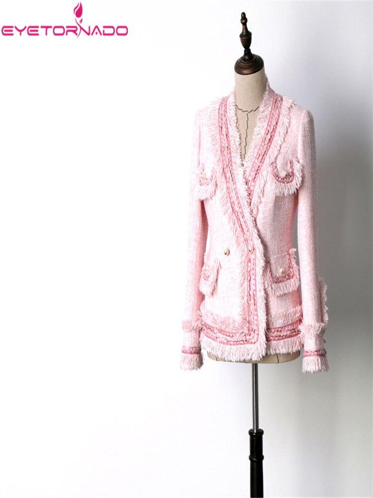 ผู้หญิง slim พู่ lurex tweed เสื้อ V คอฤดูใบไม้ผลิฤดูใบไม้ร่วงไข่มุกสีชมพูกระเป๋าสั้นลำลองสุภาพสตรี OL ขนสัตว์แจ็คเก็ต-ใน แจ็กเก็ตแบบเบสิก จาก เสื้อผ้าสตรี บน   1