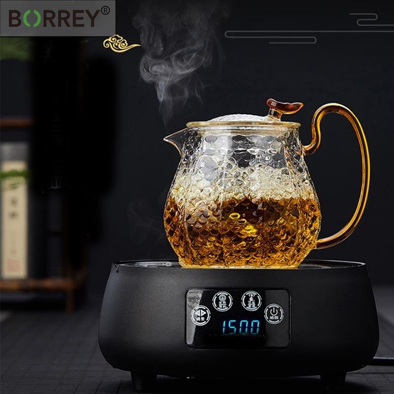 BORREY Glass Teapot Cup Set Heat Resistant Glass Teapot With Tea Infuser Filter Gold Handle Oolong Flower Teapot Puer Tea Kettle