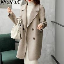 AYUNSUE 더블 사이드 울 코트 겨울 자켓 여성 의류 2020 알파카 모직 코트 여성 한국어 롱 코트 Chaqueta Mujer MY3820