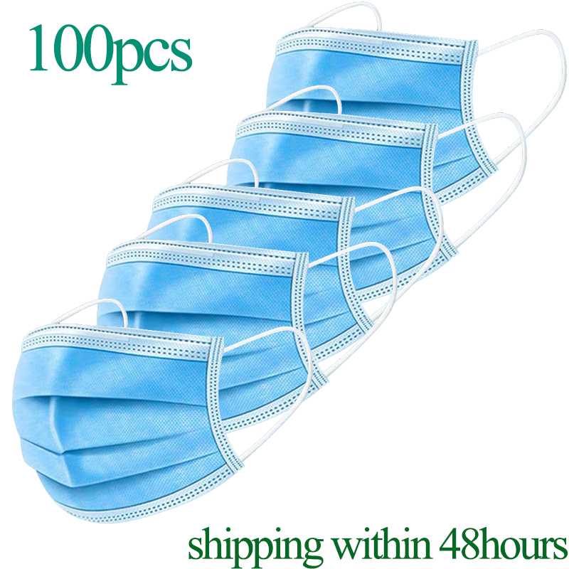 5-100 Pcs 3 Layers Mouth Mask Anti Dust Mouth Mask Carbon Filter Windproof Mouth-muffle Bacteria Proof Flu Kind Face Masks