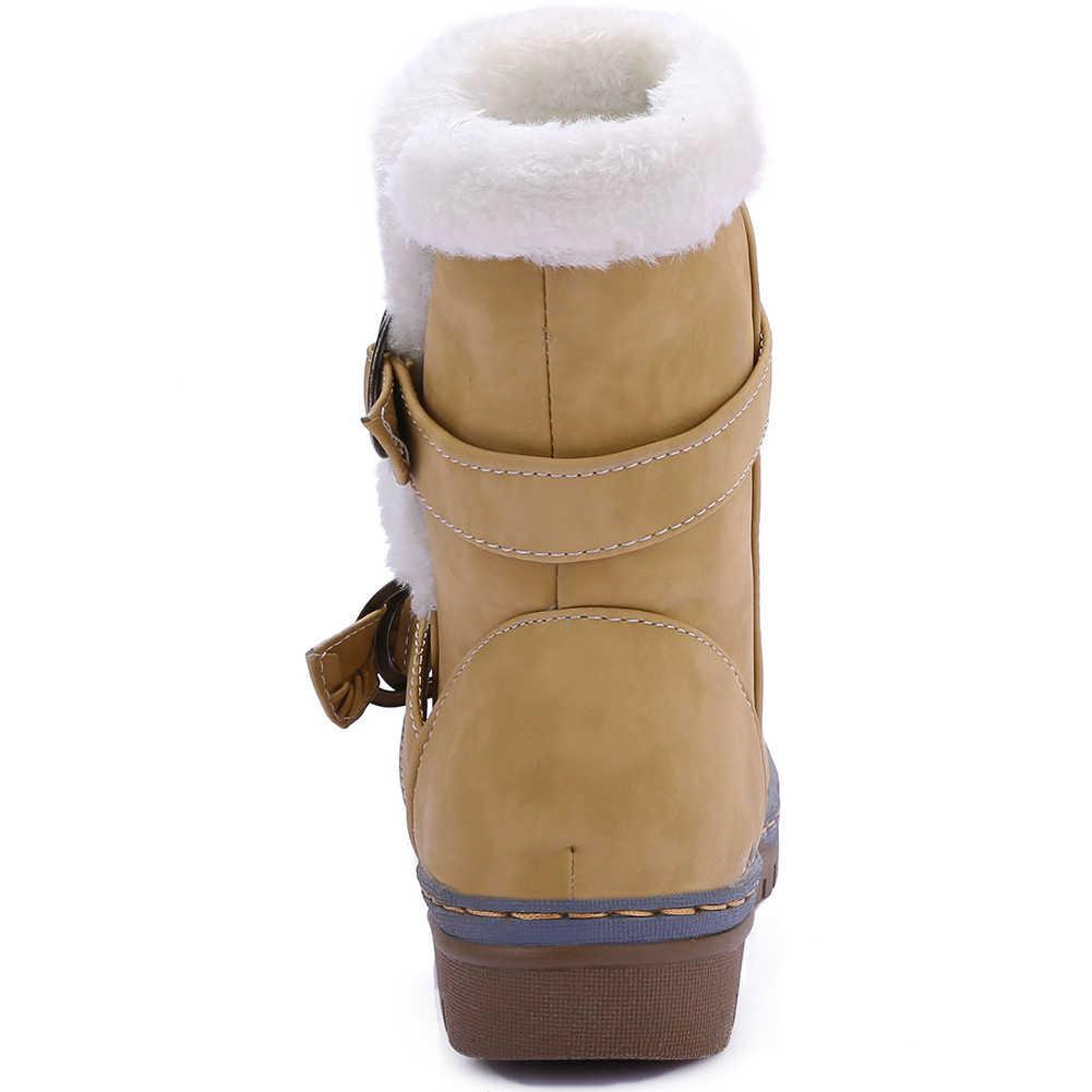 DORATASIA artı boyutu 34-46 marka yeni moda kemer toka platformu bayanlar kış sıcak kar botları kadın 2019 rahat ayakkabılar kadın