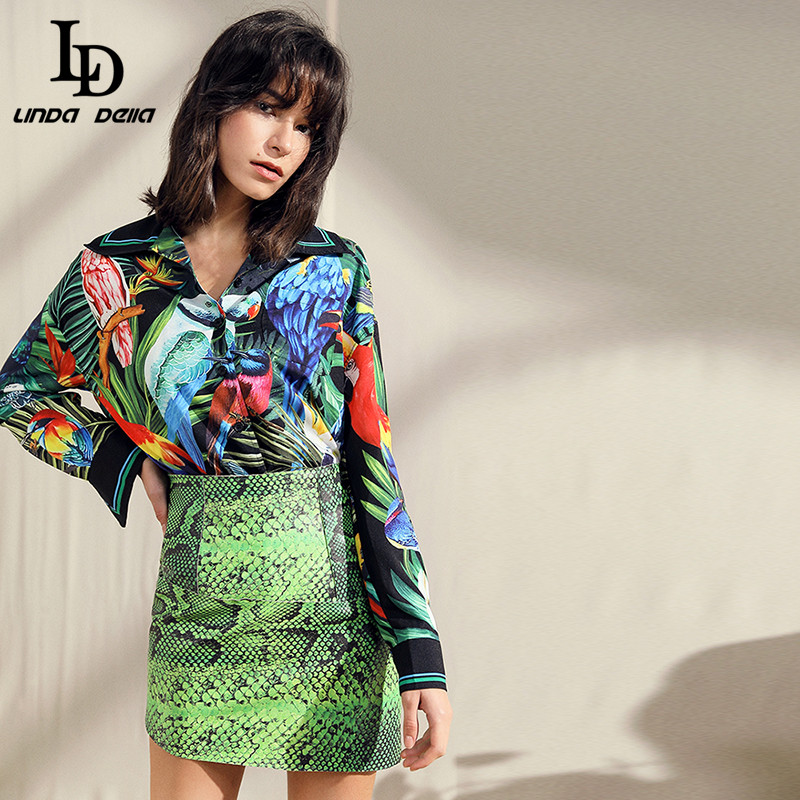 LD LINDA DELLA Summer Fashion Women's Suit Jungle Little Bird Floral Print Shirt And Mini Skirt 2 Two Pieces Set