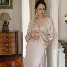 2021 novo francês romântico vestido de pijama de seda sexy renda costurado v-neck vestido com arco retro longo vestido de princesa casa