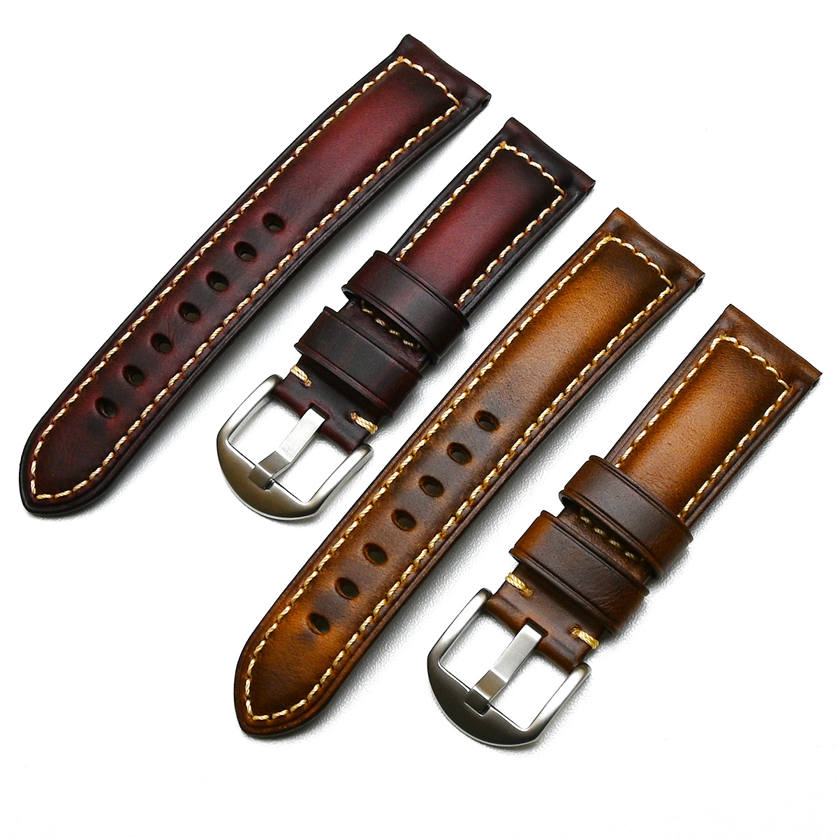 20mm 22mm 24mm 26mm Handmade Italian Brown Black Blue Vintage Genuine Leather Watch Band Strap for panerai HUAWEI Men Watchband