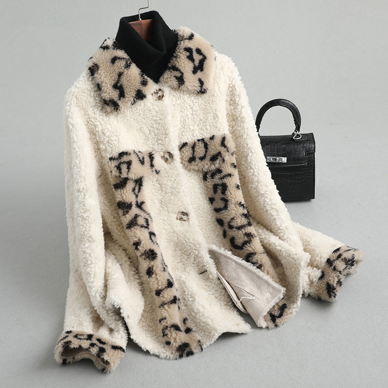 Real AYUNSUEM Sheep Shearling Fur Coat Winter Jacket Women 100% Wool Coats And Jackets Women Korean Outwear Chaqueta Mujer MY S
